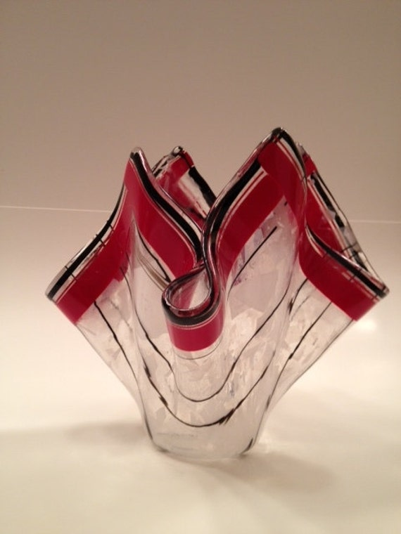 Fused glass vase with lipstick red accents