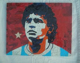 Diego Maradona  Recycled Tin Art