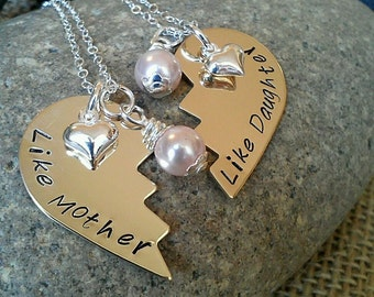 Mother Daughter Broken Heart Necklace, Like Mother Like Daughter, Personalized Broken Heart Necklace with Puffy Heart Charms and Pearls