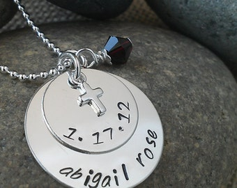 Hand Stamped Mom Necklace, Personalized Confirmation Necklace, with Swarovski Crystal Birthstone