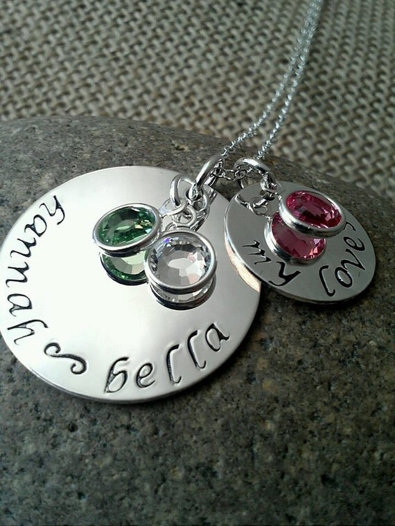 Hand Stamped Mother Necklace-Personalized Silver Charm Necklace-Hand Stamped Jewelry Stamped Evermore