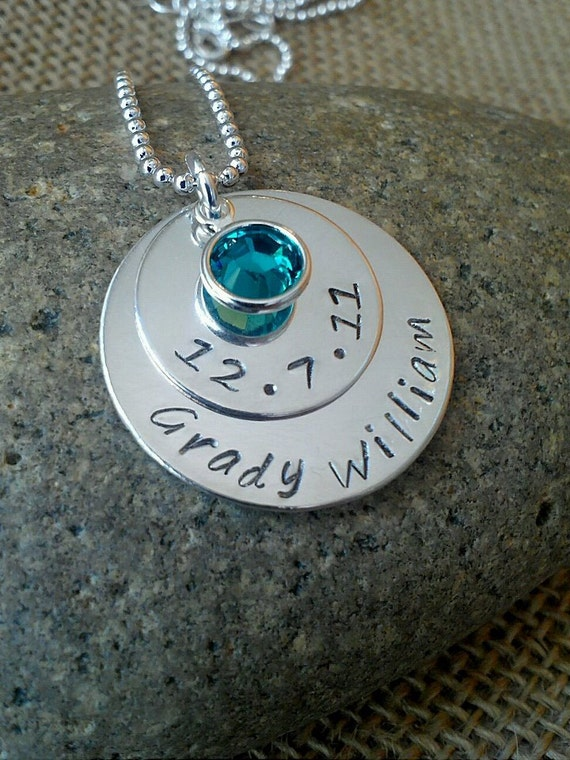Mother Necklace - Grandma Necklace - Mom Necklace - Custom Name Date Necklace - Stamped Evermore