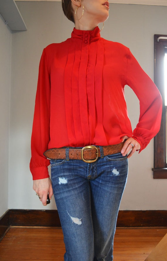 Red 80's Secretary Blouse with High, Button-Up Neck