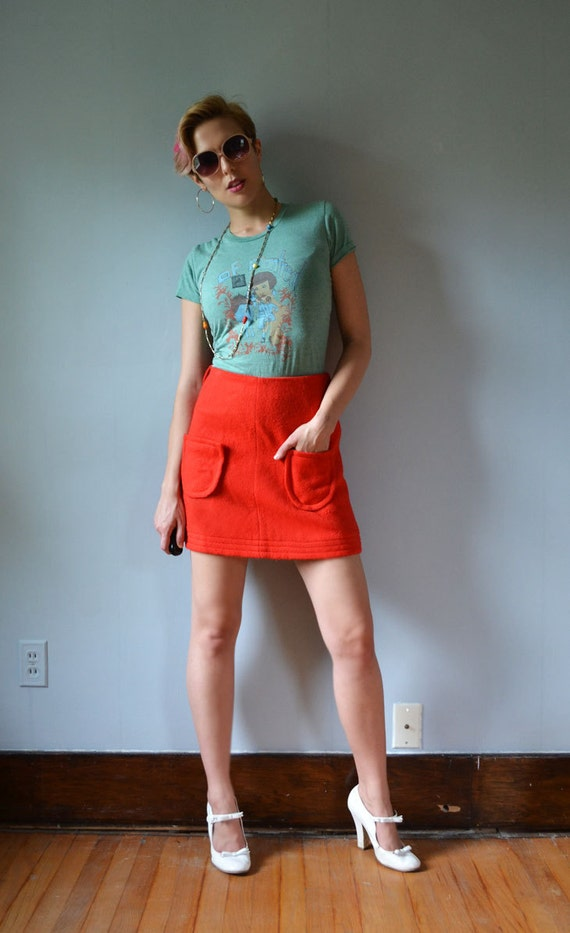 Red 60's mod wool mini skirt Charlie's Girls designed by Erika Elias size small