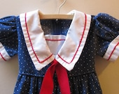 Vintage Girls Polka Dot Sailor Dress with Red Sash, 3T