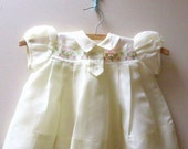 Vintage Butter Cream and Lace Baby Dress, Size 12 Months