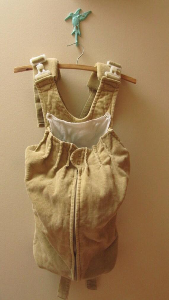 Vintage Tan Corduroy Snugli Baby Carrier