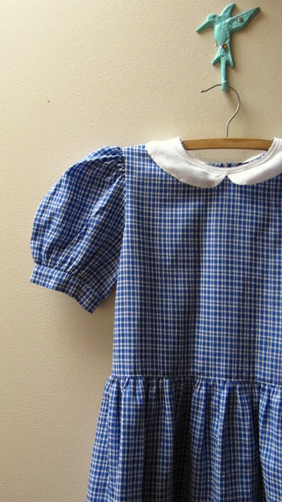 Vintage Girls Blue Gingham Drop Waist Dress, Size 7