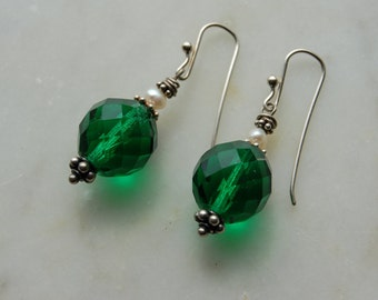 SALE Handcrafted Sterling earrings Vintage Swarovski Emerald green glass beads ,freshwater pearls and handmade sterling earwires by Reneux