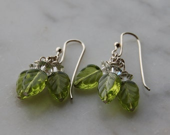 sterling silver earrings with Czech  green glass leaves +Vintage Swarovski crystal-handmade sterling earwires-Pantone color 2017 Greenery