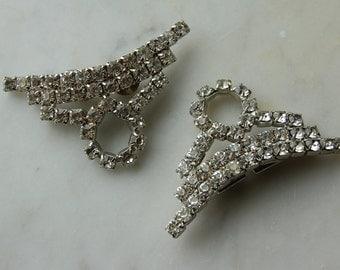 SALE-Vintage Art Deco 1950s prong set  rhinestone shoe clips - perfect condition.