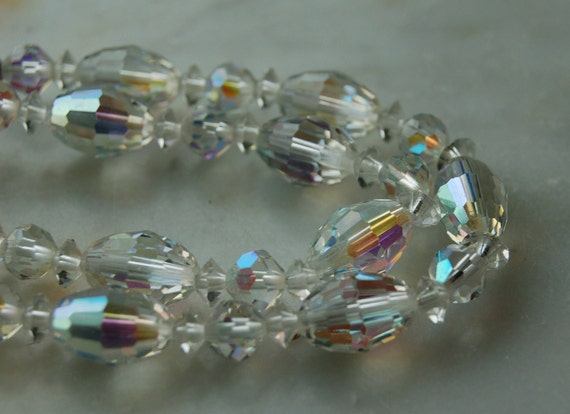 Vintage Laguna  AB Aurora Borealis crystal bead choker necklace 12inches  long with 3 inch extension. PERFECT