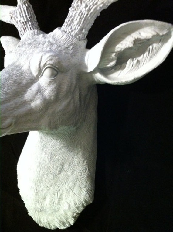 white ceramic deer head stag resin white faux taxidermy chic