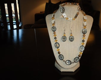 Moonlight, Silver and Copper Swarovski Crystals with Pearls Beaded Necklace Set