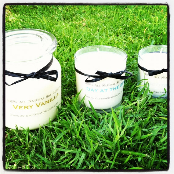 3 pack 16 oz 12 oz & 7 oz All Natural SOY wax Candles Glass jar CHOOSE your SCENTS