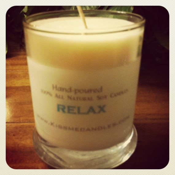 """Handmade Hand-poured 12 oz Pure SOY wax  Candle """"RELAX"""""""