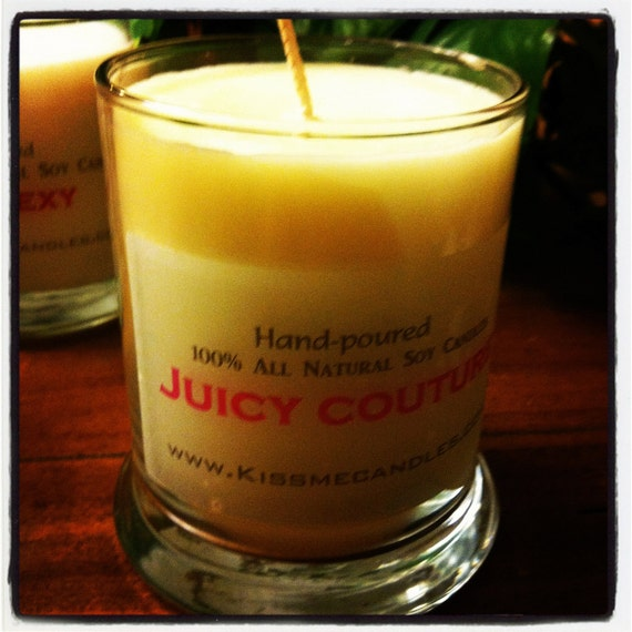 "Handmade Hand-poured 12 oz SOY wax Candle ""JUICY COUTURE"" Spa Glass"