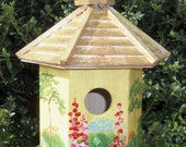 """Yellow Birdhouse - Hand Painted, Decorative, French Country, Cottage Chic, Birdhouse Collectors - Item is on """"5 Treasury Lists"""" - Great Gift"""