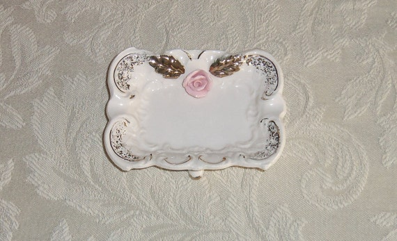 Porcelain Rose Trinket Soap Dish - RESERVED FOR VICKI - until 9/24/12 Vintage, French Country, Paris Apartment
