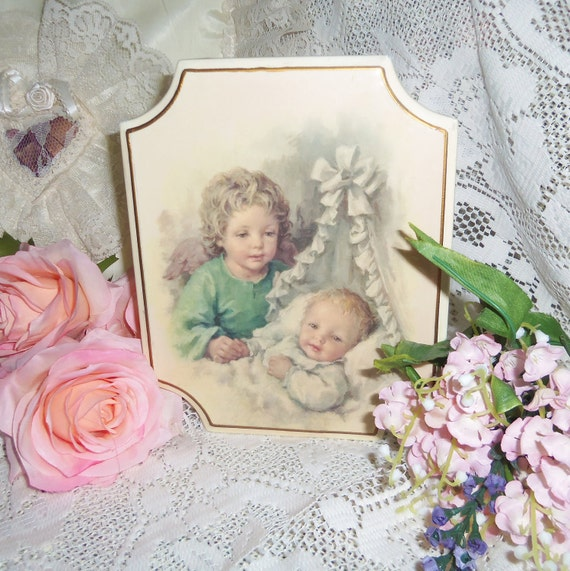 Nursery Picture Wallhanging - Vintage, Babys Nursery, Young Childs Room, Angel with Infant