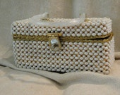 Vintage 1960's White Beaded BOX Bag by Delill