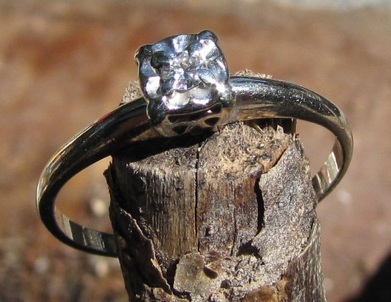 Dainty Delight : Antique Diamond Engagement Ring, Illusion Head Solitaire, White Gold - 1920s