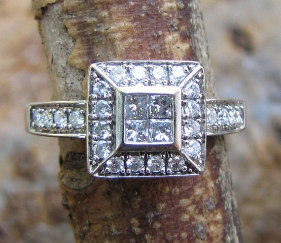 28 Diamond Vintage Engagement Ring - White Gold and Princess Cut Stones - 1970s Pave Tiffany Style Square Setting