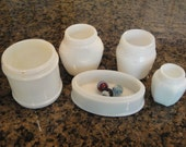 Set of 5 Vintage Milk Glass Cosmetics Cream Jars Bottles