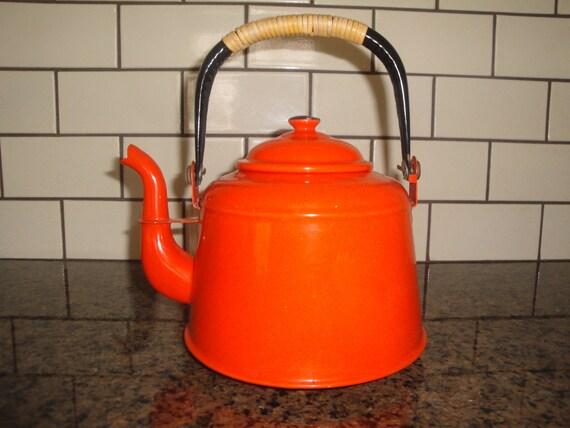 Vintage Orange Enamel Tea Kettle
