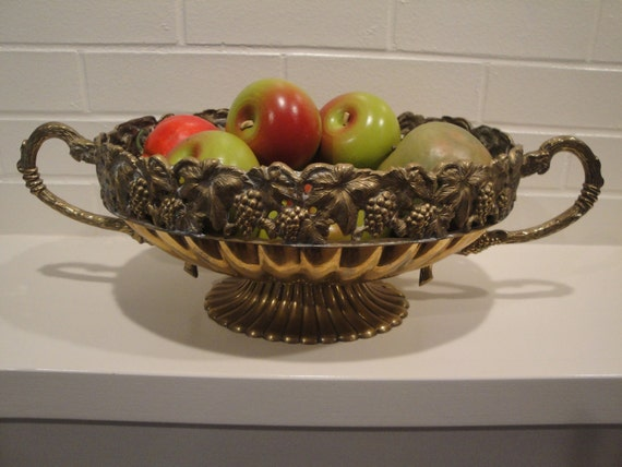 RESERVED  Large Brass Centerpiece Compote Tureen Bowl Figural Grape Rim Andrea by Sadek