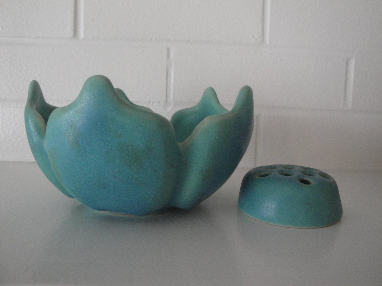 Vintage Van Briggle Pottery Lotus Bowl Ming Turquoise With