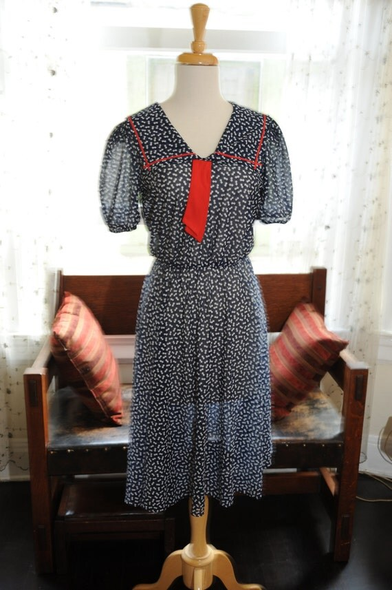 Cute 1980's Navy Patterned Sailor Dress