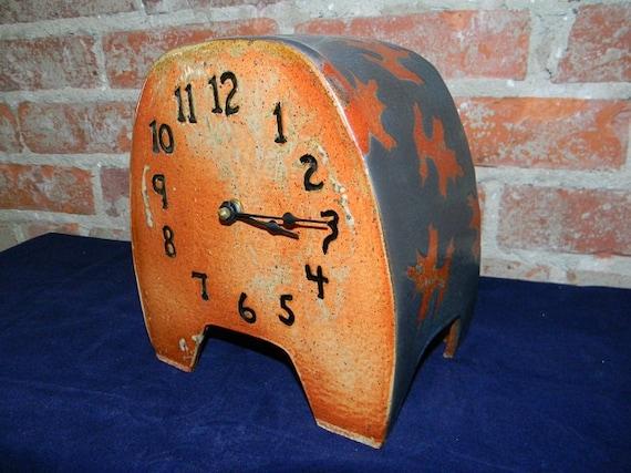 Shino & turquoise mantle clock
