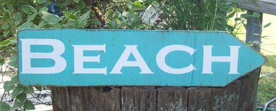 tropical sign, shabby chic Beach sign, Beach directional sign-OOAK