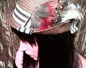 Unisex Spring or Summer Brown Tweed Feather Fedora with Black and White Stripes
