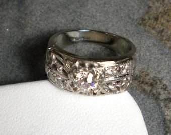 c.1940s 14K White Gold Diamond Ring R113