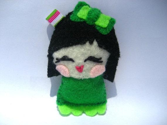 China Doll Felt Plush Plushie Keychain Kawaii Ornament