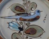 Tonala, Mexico hand painted ceramic art pottery bird plate signed by Ken Edwards in earthy colors