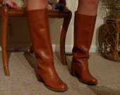 HOLD for Mary Ellen through 5/19/12 Vintage Frye women's leather riding boots, russet color in a size 8B, Made in USA