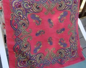 1970's era mod paisley 100% cotton scarf in dark pink with purple, black, green and yellow design