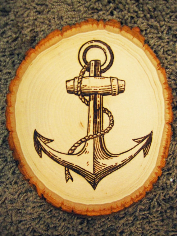 Ship Anchor Wood Burning on Create Your Own Traceable Name