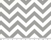 Zig Zag Cotton Fabric - Drapery Fabric - Heavy Cotton Fabrics - Grey and White Chevron - Fabric by the Yard