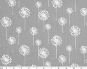Dandelion Cotton Fabric - Drapery Fabric - Grey and White Dandelion - Fabric by the Yard