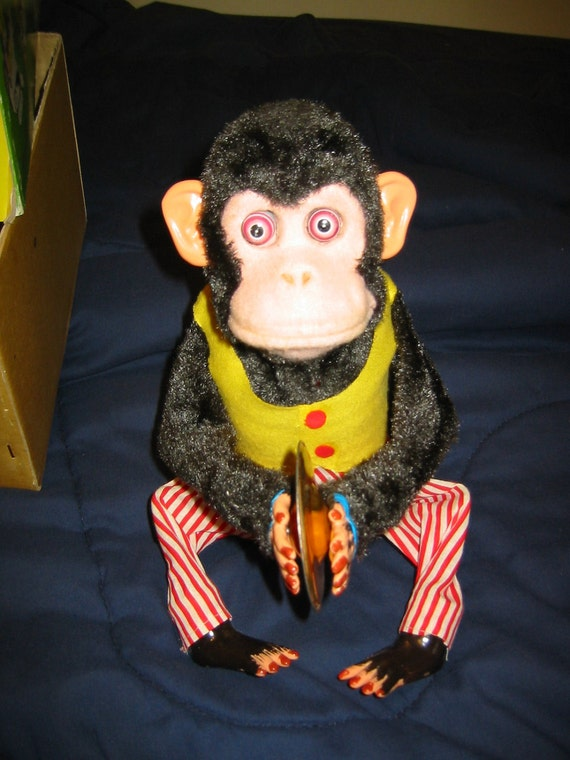 "1960's Working Perfectly ""Musical Jolly Chimp"" Monkey Battery Operated Toy W/Box,C.K. (Daishin) Inc. Japan"
