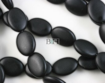 Lot of 5 Strands 13x18mm Matte Black Onyx Beads Flat Oval 15.5""