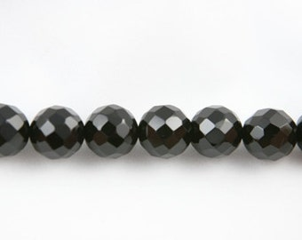 "Lot of 5 Strands Faceted 12mm Black Onyx Beads Round 15.5"" (BD1499)"