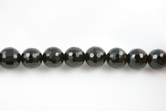 """Lot of 5 Strands Faceted 10mm Black Onyx Beads Round 15.5"""" (BD1498)"""