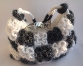 Wonderful crochet handbag in snow white and hematite flowers, crochet bag with two faces, shoulder bag, purse