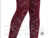 Gray Blooming Print on Burgundy Footless Tights (C74-BUGR)