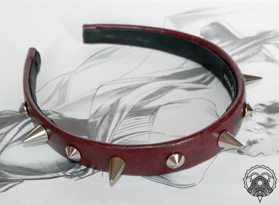 Brown studded leather headband